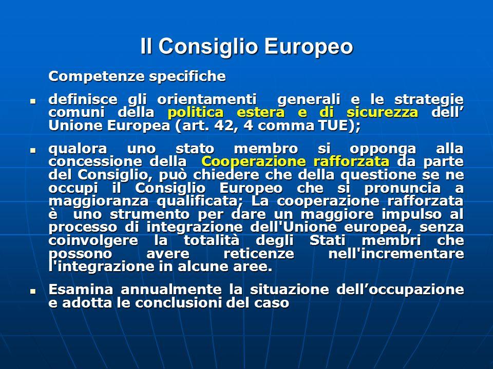 Il Consiglio Europeo Competenze specifiche definisce gli orientamenti generali e le strategie comuni della politica estera e di sicurezza dell' Unione Europea (art.