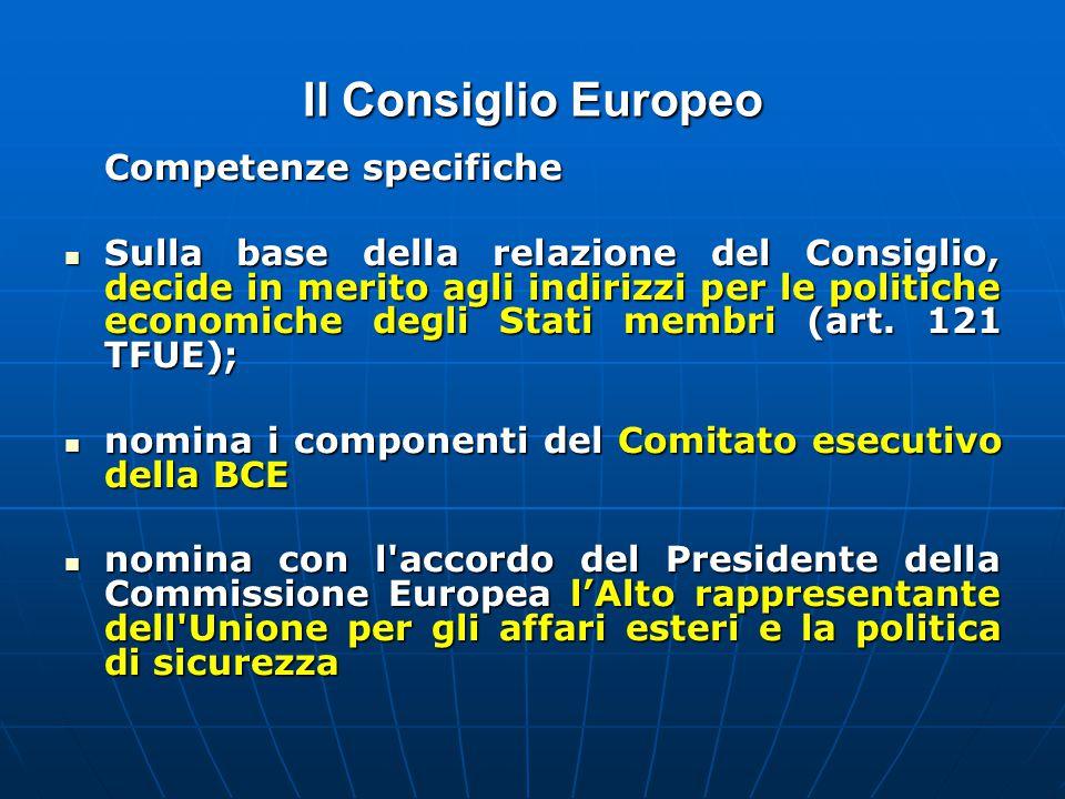 Il Consiglio Europeo Competenze specifiche Sulla base della relazione del Consiglio, decide in merito agli indirizzi per le politiche economiche degli Stati membri (art.