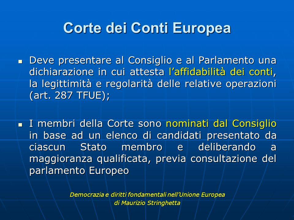 Corte dei Conti Europea Deve presentare al Consiglio e al Parlamento una dichiarazione in cui attesta l'affidabilità dei conti, la legittimità e regolarità delle relative operazioni (art.