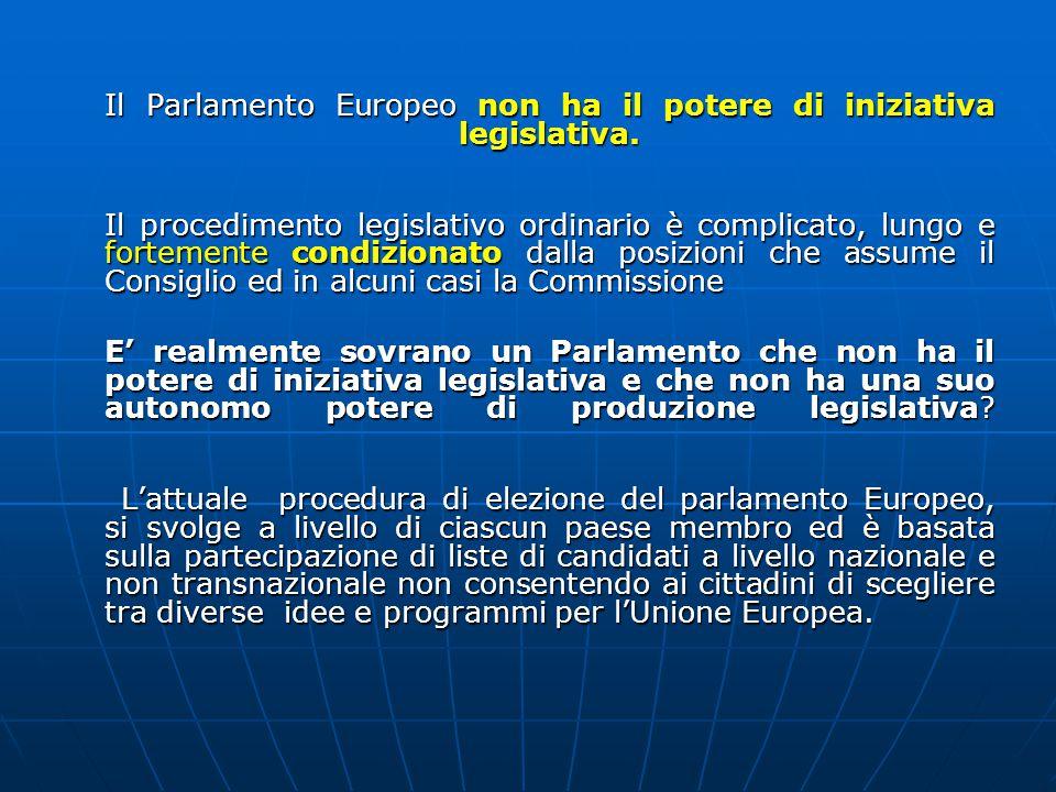 Il Parlamento Europeo non ha il potere di iniziativa legislativa.
