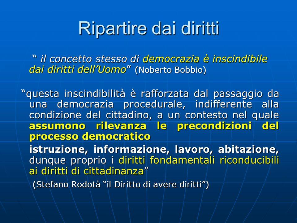 Ripartire dai diritti il concetto stesso di democrazia è inscindibile dai diritti dell'Uomo (Noberto Bobbio) il concetto stesso di democrazia è inscindibile dai diritti dell'Uomo (Noberto Bobbio) questa inscindibilità è rafforzata dal passaggio da una democrazia procedurale, indifferente alla condizione del cittadino, a un contesto nel quale assumono rilevanza le precondizioni del processo democratico questa inscindibilità è rafforzata dal passaggio da una democrazia procedurale, indifferente alla condizione del cittadino, a un contesto nel quale assumono rilevanza le precondizioni del processo democratico istruzione, informazione, lavoro, abitazione, dunque proprio i diritti fondamentali riconducibili ai diritti di cittadinanza (Stefano Rodotà il Diritto di avere diritti ) (Stefano Rodotà il Diritto di avere diritti )