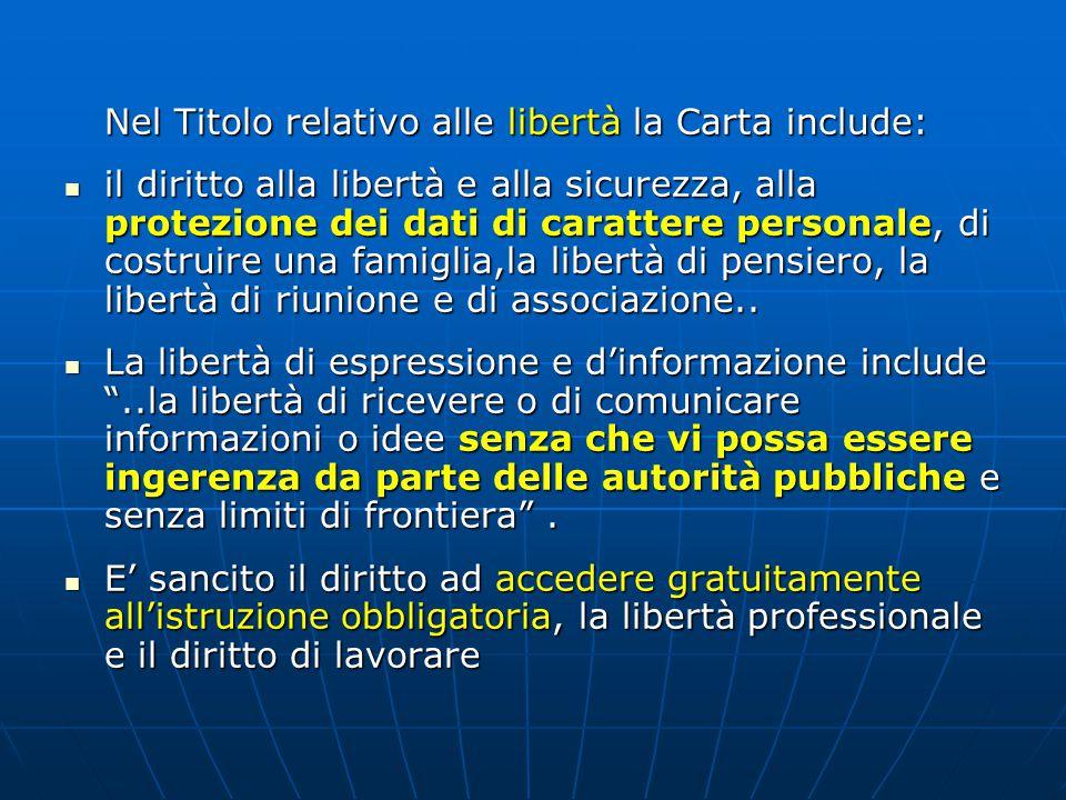 Nel Titolo relativo alle libertà la Carta include: il diritto alla libertà e alla sicurezza, alla protezione dei dati di carattere personale, di costruire una famiglia,la libertà di pensiero, la libertà di riunione e di associazione..