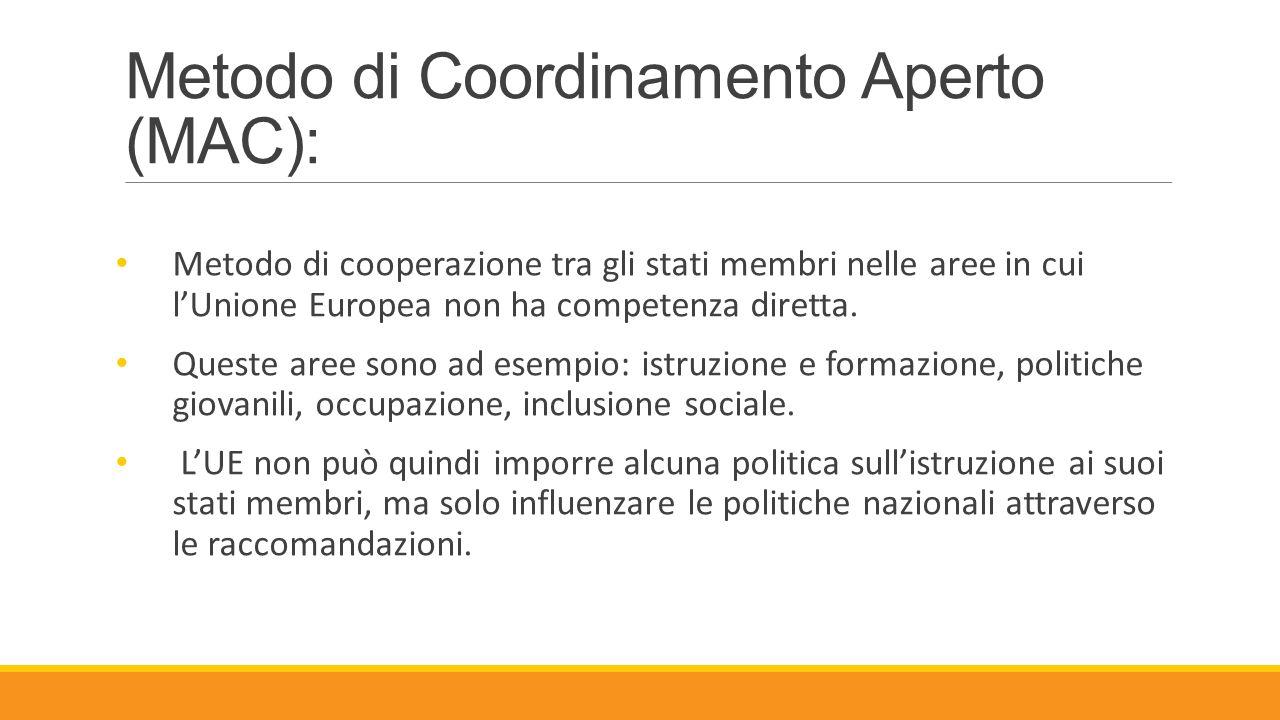 Metodo di Coordinamento Aperto (MAC): Metodo di cooperazione tra gli stati membri nelle aree in cui l'Unione Europea non ha competenza diretta. Queste