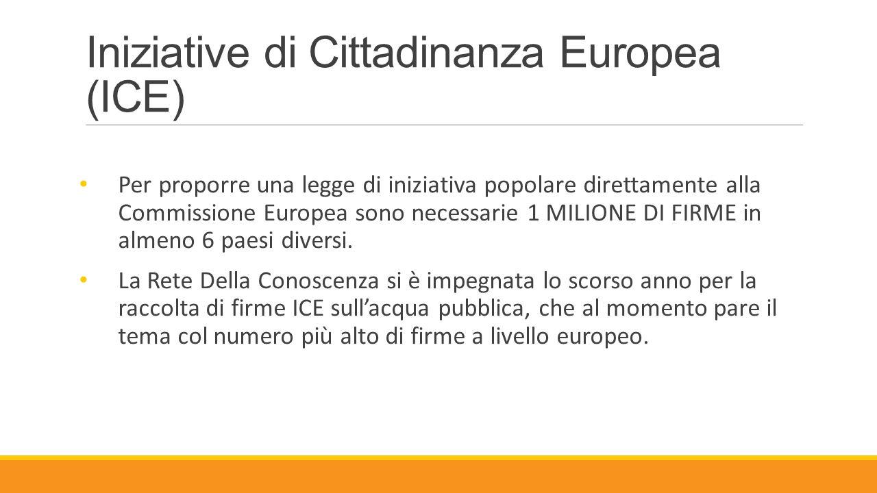 Iniziative di Cittadinanza Europea (ICE) Per proporre una legge di iniziativa popolare direttamente alla Commissione Europea sono necessarie 1 MILIONE
