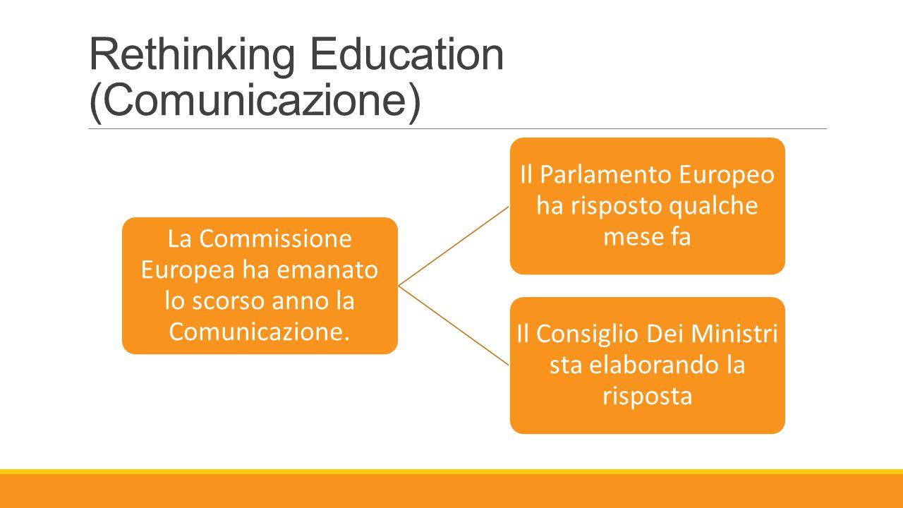 Rethinking Education (Comunicazione) La Commissione Europea ha emanato lo scorso anno la Comunicazione. Il Parlamento Europeo ha risposto qualche mese