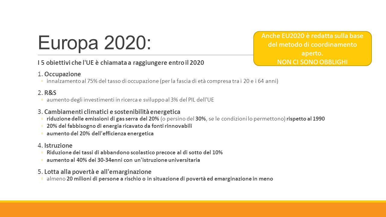 Europa 2020: I 5 obiettivi che l'UE è chiamata a raggiungere entro il 2020 1. Occupazione ◦innalzamento al 75% del tasso di occupazione (per la fascia