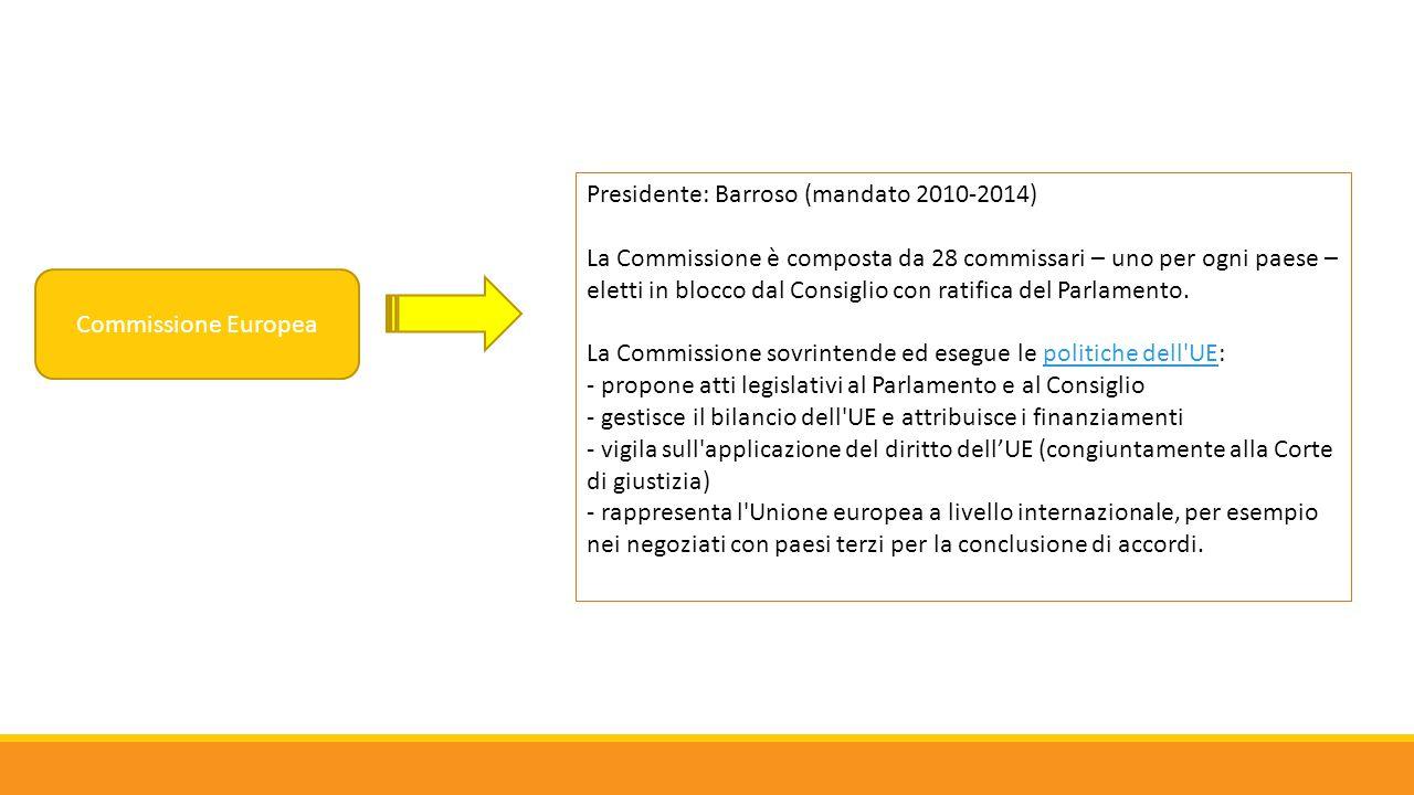 Commissione Europea Presidente: Barroso (mandato 2010-2014) La Commissione è composta da 28 commissari – uno per ogni paese – eletti in blocco dal Con