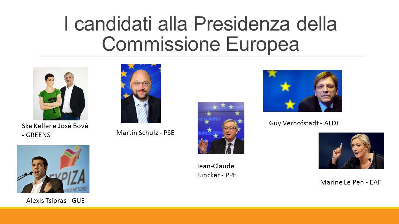 I candidati alla Presidenza della Commissione Europea Martin Schulz - PSE Jean-Claude Juncker - PPE Alexis Tsipras - GUE Ska Keller e José Bové - GREE