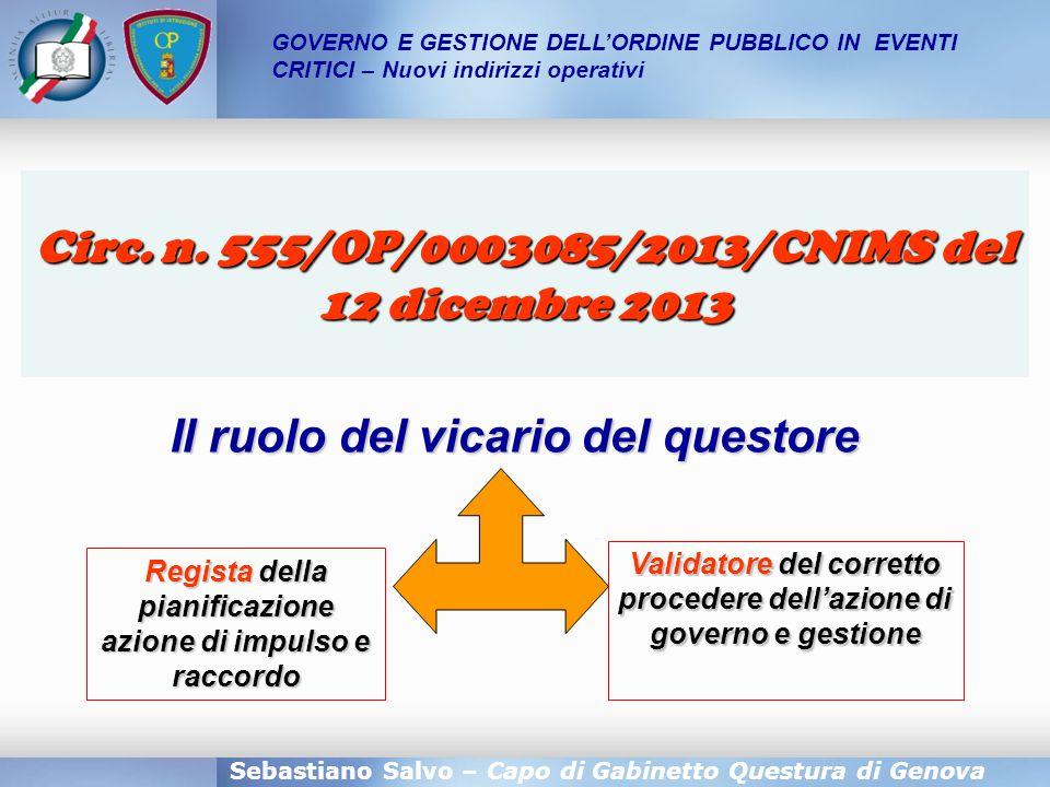 Sebastiano Salvo – Capo di Gabinetto Questura di Genova GOVERNO E GESTIONE DELL'ORDINE PUBBLICO IN EVENTI CRITICI – Nuovi indirizzi operativi Circ. n.