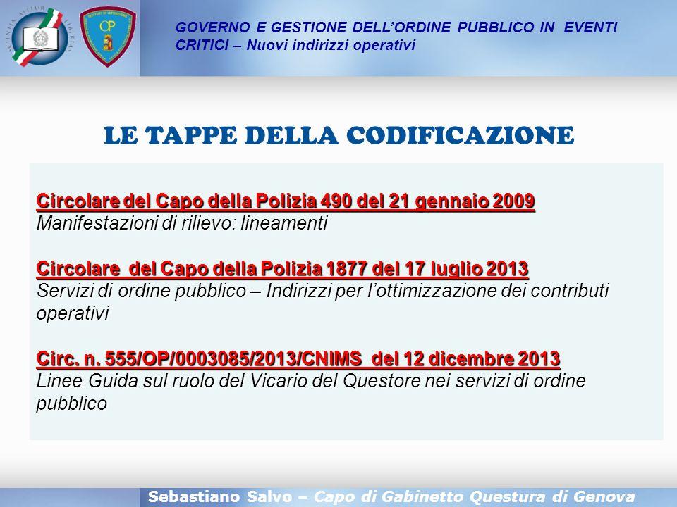 LE TAPPE DELLA CODIFICAZIONE Sebastiano Salvo – Capo di Gabinetto Questura di Genova Circolare del Capo della Polizia 490 del 21 gennaio 2009 Manifest