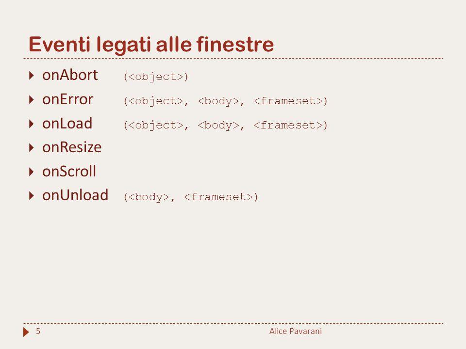 Eventi legati alle finestre Alice Pavarani5  onAbort ( )  onError (,, )  onLoad (,, )  onResize  onScroll  onUnload (, )