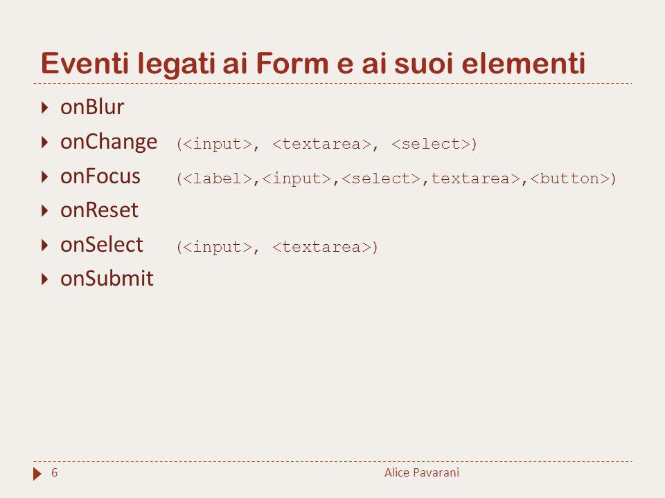Eventi legati ai Form e ai suoi elementi Alice Pavarani6  onBlur  onChange (,, )  onFocus (,,,textarea>, )  onReset  onSelect (, )  onSubmit