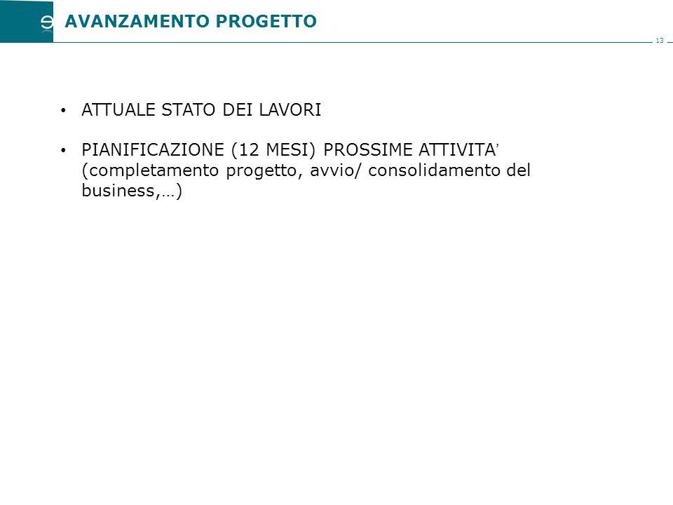 13 ATTUALE STATO DEI LAVORI PIANIFICAZIONE (12 MESI) PROSSIME ATTIVITA' (completamento progetto, avvio/ consolidamento del business,…) AVANZAMENTO PROGETTO