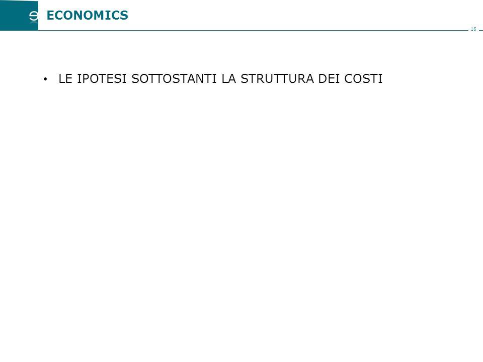 16 LE IPOTESI SOTTOSTANTI LA STRUTTURA DEI COSTI ECONOMICS