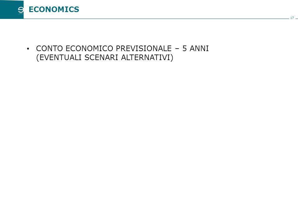 17 CONTO ECONOMICO PREVISIONALE – 5 ANNI (EVENTUALI SCENARI ALTERNATIVI) ECONOMICS