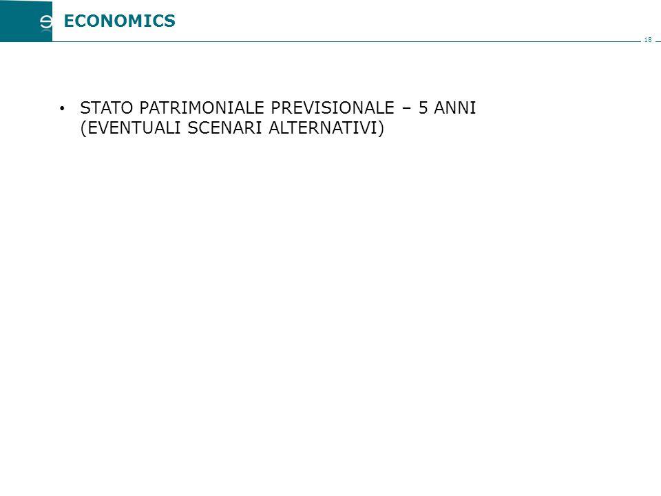 18 STATO PATRIMONIALE PREVISIONALE – 5 ANNI (EVENTUALI SCENARI ALTERNATIVI) ECONOMICS