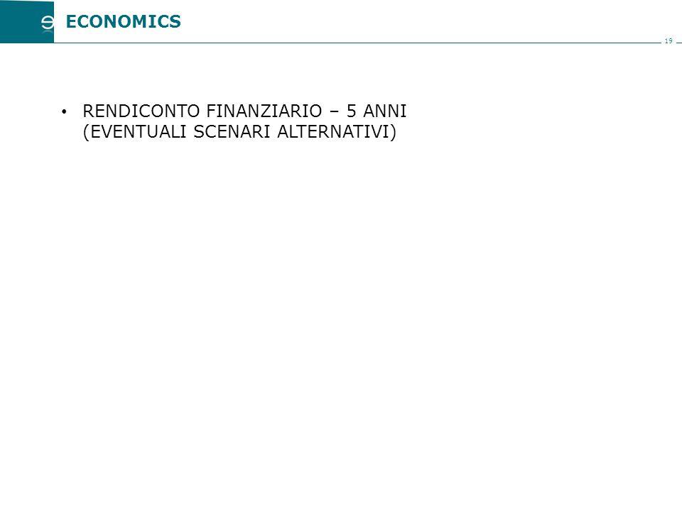 19 RENDICONTO FINANZIARIO – 5 ANNI (EVENTUALI SCENARI ALTERNATIVI) ECONOMICS