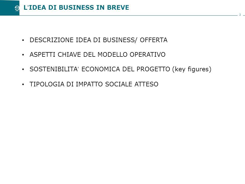2 DESCRIZIONE IDEA DI BUSINESS/ OFFERTA ASPETTI CHIAVE DEL MODELLO OPERATIVO SOSTENIBILITA' ECONOMICA DEL PROGETTO (key figures) TIPOLOGIA DI IMPATTO SOCIALE ATTESO L'IDEA DI BUSINESS IN BREVE