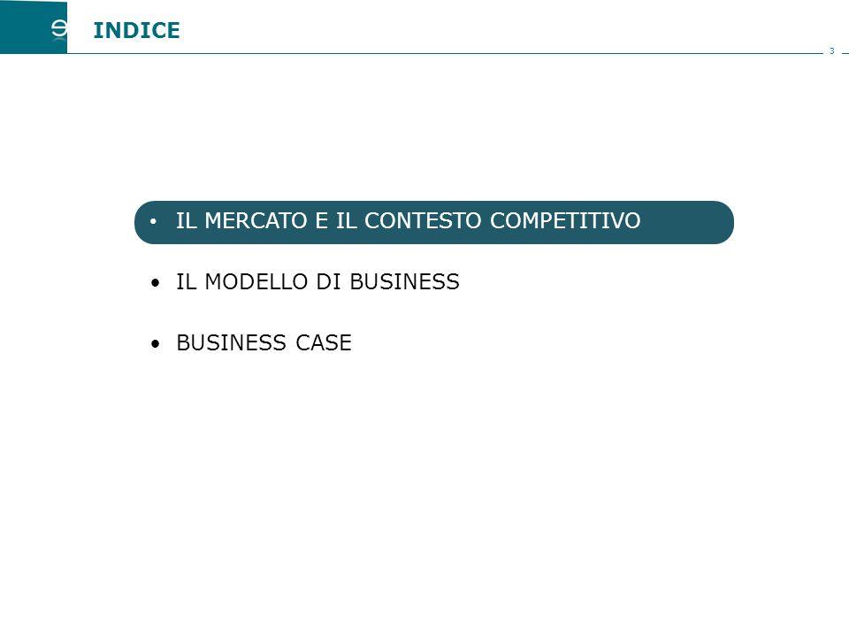 3 IL MERCATO E IL CONTESTO COMPETITIVO IL MODELLO DI BUSINESS BUSINESS CASE INDICE