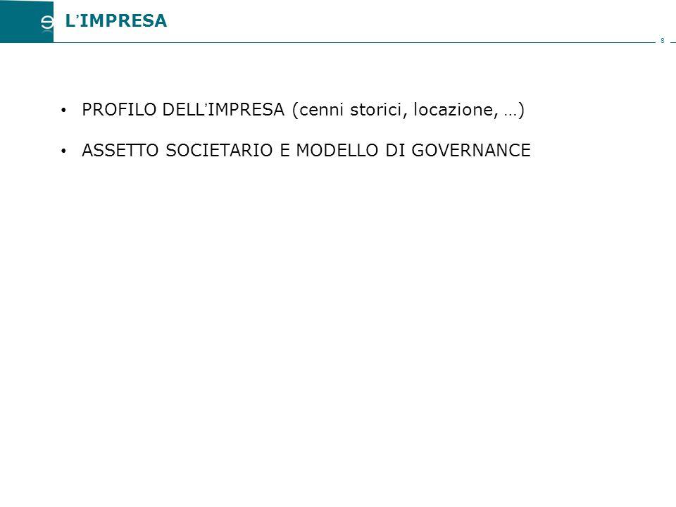 8 PROFILO DELL'IMPRESA (cenni storici, locazione, …) ASSETTO SOCIETARIO E MODELLO DI GOVERNANCE L'IMPRESA