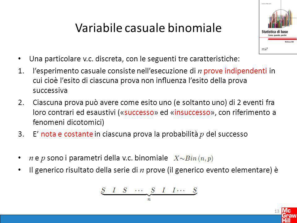 Variabile casuale binomiale Una particolare v.c. discreta, con le seguenti tre caratteristiche: 1.l'esperimento casuale consiste nell'esecuzione di n
