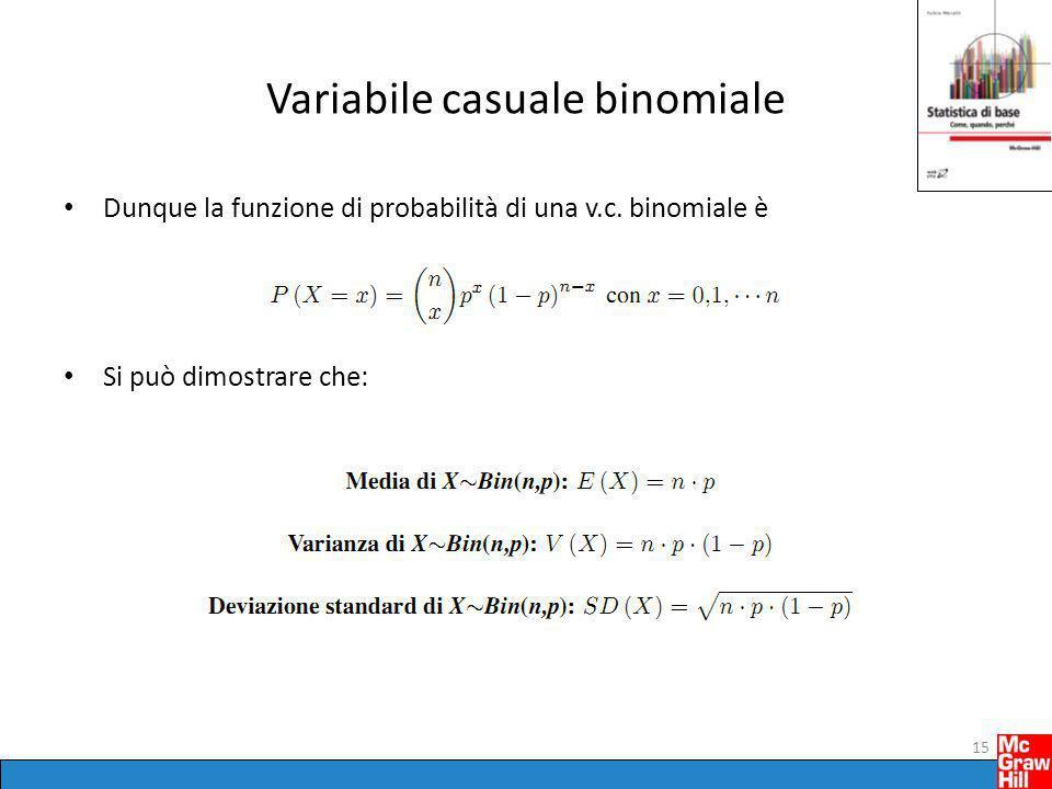 Variabile casuale binomiale Dunque la funzione di probabilità di una v.c. binomiale è Si può dimostrare che: 15