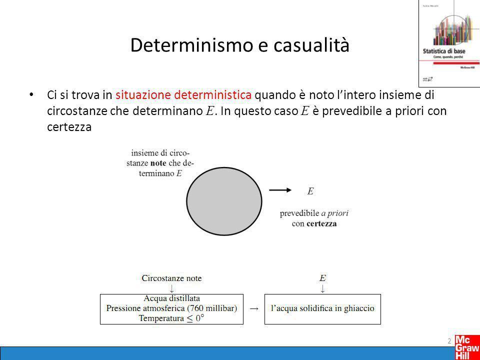 Determinismo e casualità Ci si trova in situazione deterministica quando è noto l'intero insieme di circostanze che determinano E. In questo caso E è