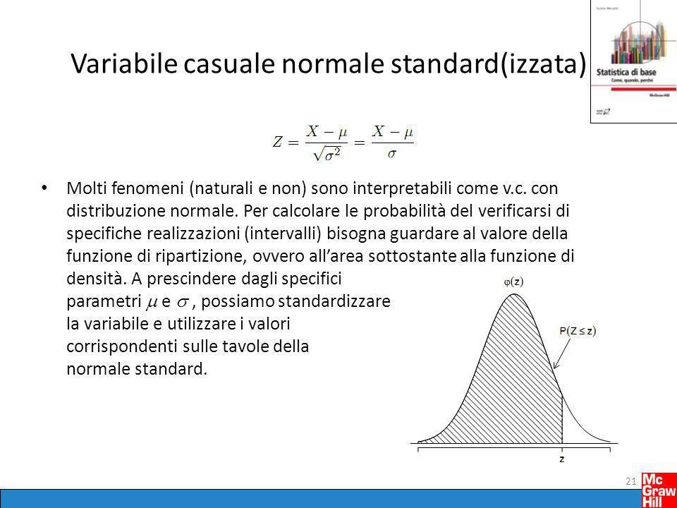 Variabile casuale normale standard(izzata) Molti fenomeni (naturali e non) sono interpretabili come v.c. con distribuzione normale. Per calcolare le p