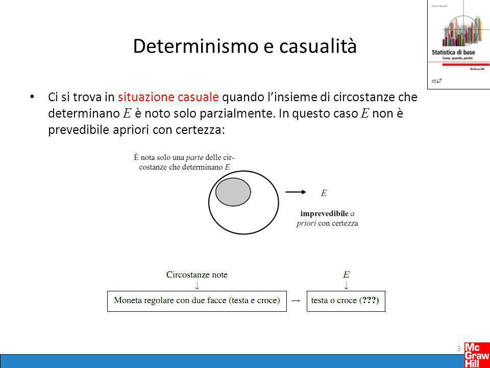 Determinismo e casualità Ci si trova in situazione casuale quando l'insieme di circostanze che determinano E è noto solo parzialmente. In questo caso