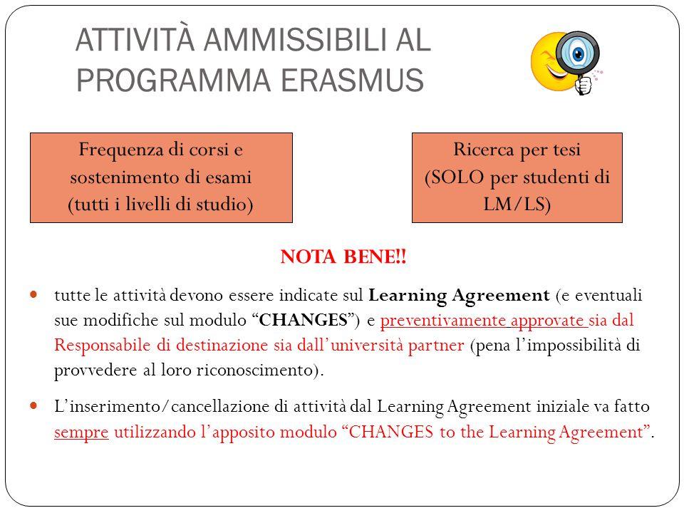 ATTIVITÀ AMMISSIBILI AL PROGRAMMA ERASMUS NOTA BENE!! tutte le attività devono essere indicate sul Learning Agreement (e eventuali sue modifiche sul m