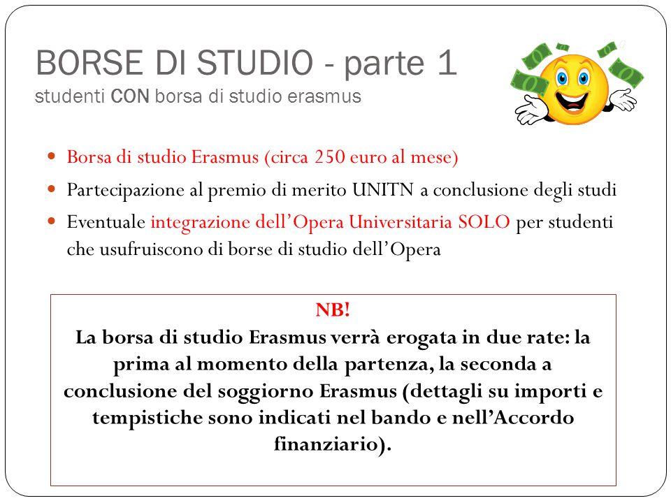 BORSE DI STUDIO - parte 1 studenti CON borsa di studio erasmus Borsa di studio Erasmus (circa 250 euro al mese) Partecipazione al premio di merito UNI
