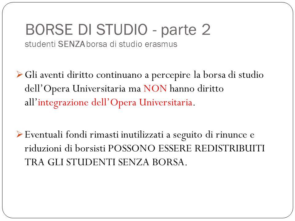 BORSE DI STUDIO - parte 2 studenti SENZA borsa di studio erasmus  Gli aventi diritto continuano a percepire la borsa di studio dell'Opera Universitar