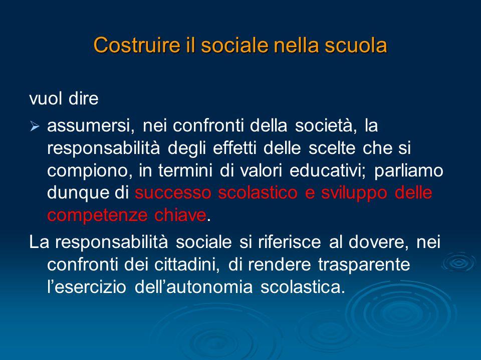 Costruire il sociale nella scuola vuol dire   assumersi, nei confronti della società, la responsabilità degli effetti delle scelte che si compiono,
