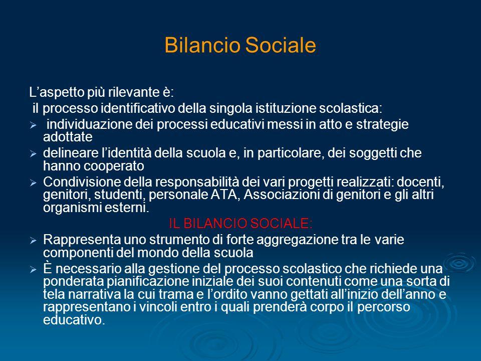 Bilancio Sociale L'aspetto più rilevante è: il processo identificativo della singola istituzione scolastica:   individuazione dei processi educativi