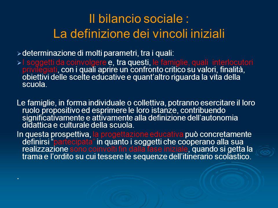 Il bilancio sociale : La definizione dei vincoli iniziali   determinazione di molti parametri, tra i quali:   I soggetti da coinvolgere e, tra que