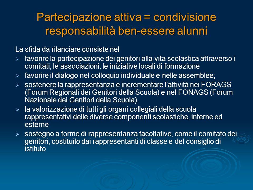 Partecipazione attiva = condivisione responsabilità ben-essere alunni La sfida da rilanciare consiste nel   favorire la partecipazione dei genitori