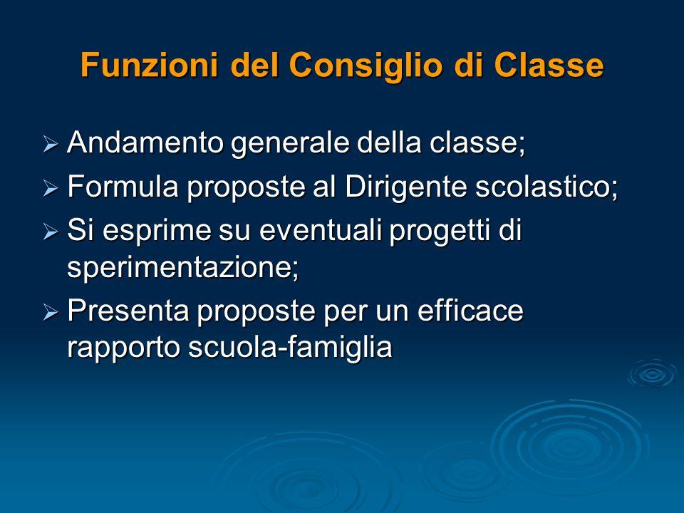 Funzioni del Consiglio di Classe  Andamento generale della classe;  Formula proposte al Dirigente scolastico;  Si esprime su eventuali progetti di
