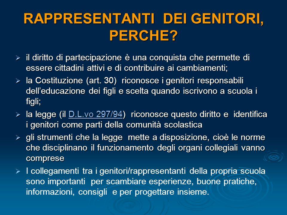 RAPPRESENTANTI DEI GENITORI, PERCHE?  il diritto di partecipazione è una conquista che permette di essere cittadini attivi e di contribuire ai cambia