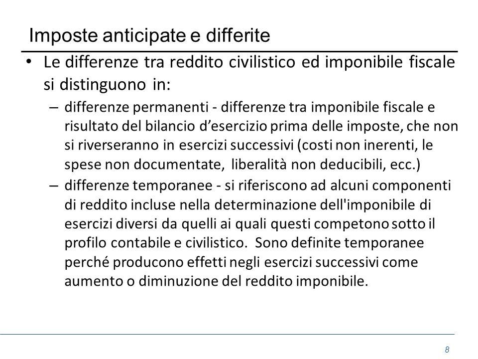 Imposte anticipate e differite Le differenze tra reddito civilistico ed imponibile fiscale si distinguono in: – differenze permanenti - differenze tra