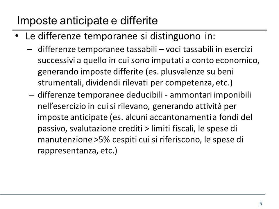 Imposte anticipate e differite Le differenze temporanee si distinguono in: – differenze temporanee tassabili – voci tassabili in esercizi successivi a