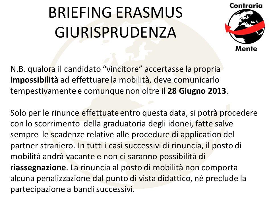 BRIEFING ERASMUS GIURISPRUDENZA N.B.