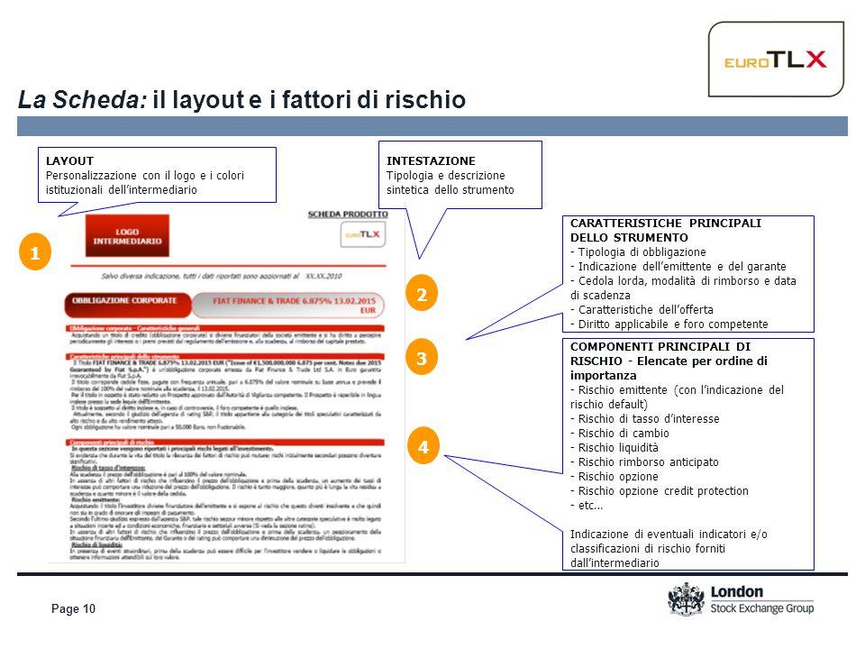 Page 10 La Scheda: il layout e i fattori di rischio CARATTERISTICHE PRINCIPALI DELLO STRUMENTO - Tipologia di obbligazione - Indicazione dell'emittent