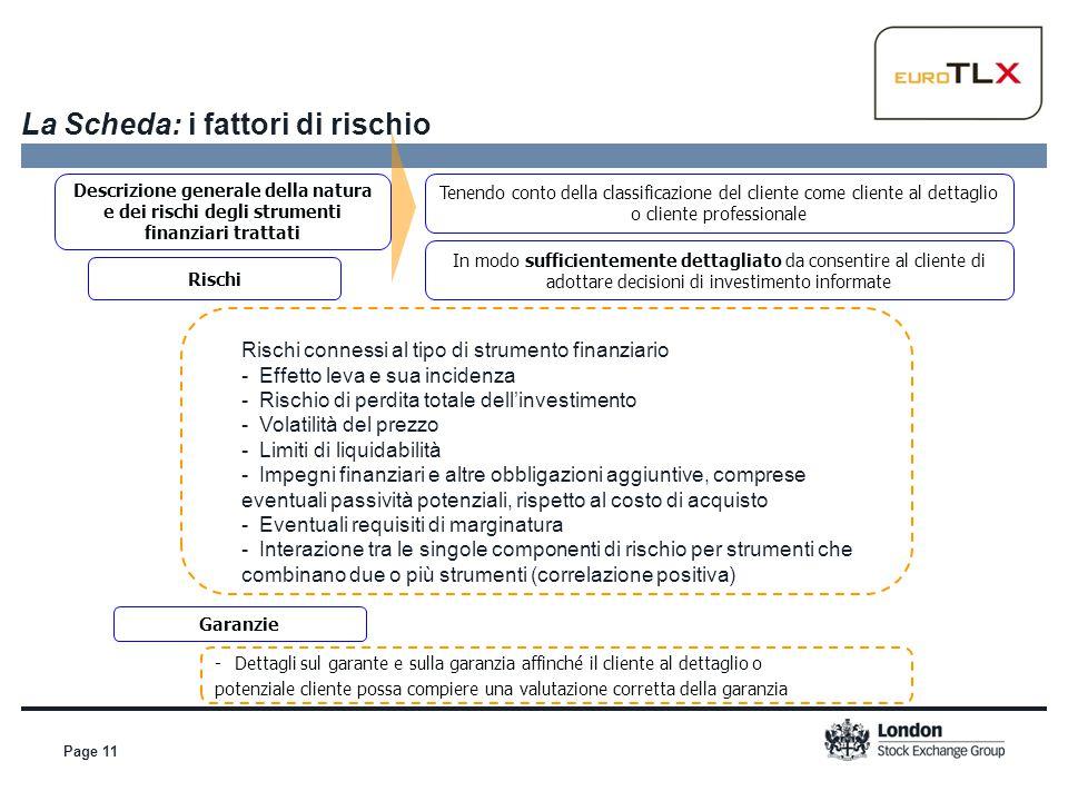 Page 11 La Scheda: i fattori di rischio Descrizione generale della natura e dei rischi degli strumenti finanziari trattati Tenendo conto della classif