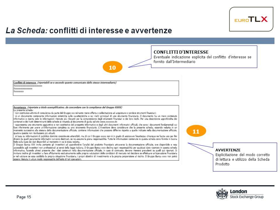 Page 15 La Scheda: conflitti di interesse e avvertenze CONFLITTI D'INTERESSE Eventuale indicazione esplicita del conflitto d'interesse se fornito dall
