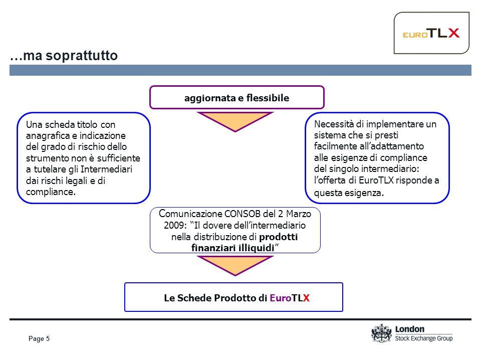 Page 16 Il Servizio Schede Prodotto offerto da EuroTLX Redazione di schede prodotto su tutti gli strumenti negoziati su EuroTLX Redazione di schede prodotto su strumenti finanziari negoziati OTC (servizio on demand) Redazione di schede prodotto su obbligazioni quotate su altri mercati