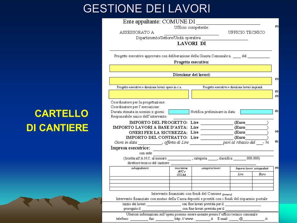 CARTELLO DI CANTIERE GESTIONE DEI LAVORI