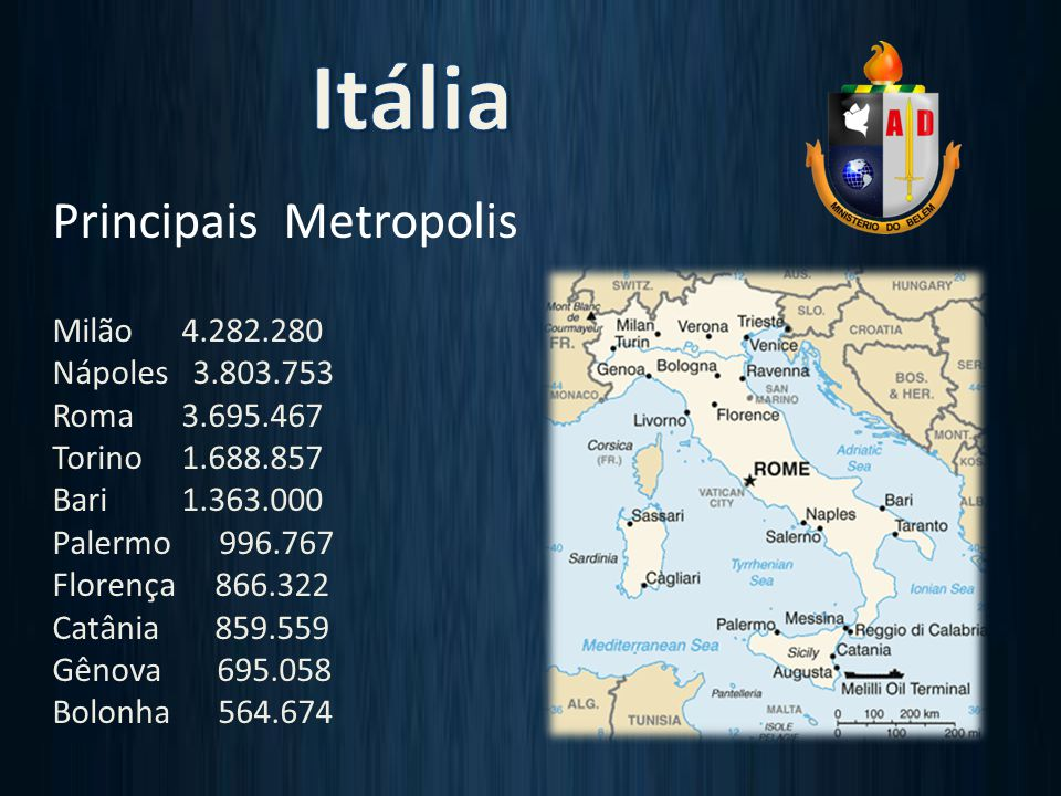 Principais Metropolis Milão 4.282.280 Nápoles 3.803.753 Roma 3.695.467 Torino 1.688.857 Bari 1.363.000 Palermo 996.767 Florença 866.322 Catânia 859.559 Gênova 695.058 Bolonha 564.674