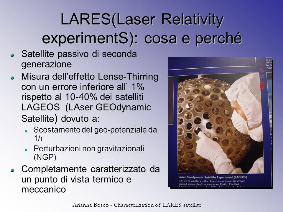 Arianna Bosco - Characterization of LARES satellite LARES(Laser Relativity experimentS): cosa e perché Satellite passivo di seconda generazione Misura dell'effetto Lense-Thirring con un errore inferiore all' 1% rispetto al 10-40% dei satelliti LAGEOS (LAser GEOdynamic Satellite ) dovuto a: Scostamento del geo-potenziale da 1/r Perturbazioni non gravitazionali (NGP) Completamente caratterizzato da un punto di vista termico e meccanico