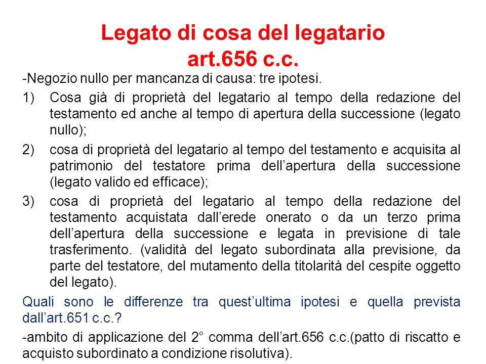 Legato di cosa del legatario art.656 c.c.-Negozio nullo per mancanza di causa: tre ipotesi.