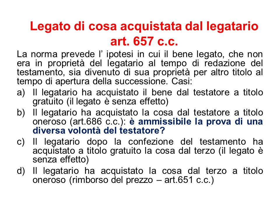 Legato di cosa acquistata dal legatario art.657 c.c.
